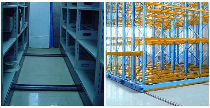 移动式货架易控制,安全可靠。每排货架有一个电机驱动,由装置于货架下的滚轮沿铺设于地面上的轨道移动。移动式货架突出的优点是提高了空间利用率,一组货架只需要一条通道,而固定型托盘货架的一条通道,只服务于通道内两侧的两排货架。所以在相同的空间内,移动式货架的储存能力比一般固定式货架高得多。 移动式货架实物图  移动式货架应用图  移动式货架分类: 1.